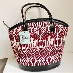 Vintage 70s Handmade Animal Design Leather Bag Red